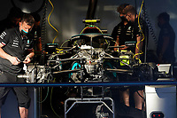 1st May 2021; Algarve International Circuit, in Portimao, Portugal; F1 Grand Prix of Portugal, qualification sessions;  mechanics working on the car of Valtteri Bottas FIN 77 , Mercedes AMG Petronas Formula One Team