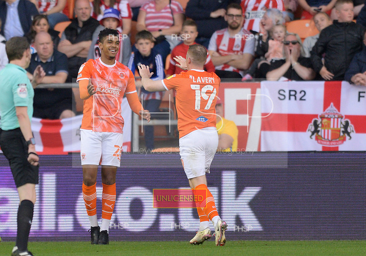 24/08/2021 Carabao Cup 2nd Round Blackpool v Sunderland <br /> <br /> Shane Lavery celebrates with Tyreece John-Jules