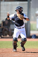 Seattle Mariners catcher Juan Camacho (58) during an Instructional League game against the Milwaukee Brewers on October 4, 2014 at Peoria Stadium Training Complex in Peoria, Arizona.  (Mike Janes/Four Seam Images)