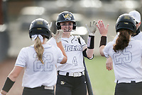 Bentonville Ryann Sanders (4) reacts, Thursday, April 29, 2021 during a softball game at Bentonville High School in Bentonville. Check out nwaonline.com/210430Daily/ for today's photo gallery. <br /> (NWA Democrat-Gazette/Charlie Kaijo)