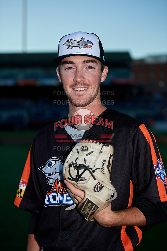 Aberdeen IronBirds pitcher Ryan Conroy (49) poses for a photo before a game against the Staten Island Yankees on August 23, 2018 at Leidos Field at Ripken Stadium in Aberdeen, Maryland.  Aberdeen defeated Staten Island 6-2.  (Mike Janes/Four Seam Images)