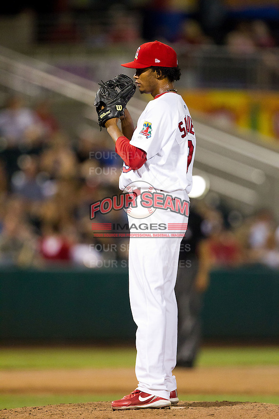 Francisco Samuel (19) of the Springfield Cardinals on the mound during a game against the Northwest Arkansas Naturals at Hammons Field on August 1, 2011 in Springfield, Missouri. Springfield defeated Northwest Arkansas 7-1. (David Welker / Four Seam Images)