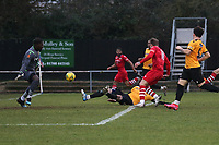 An own goal by Joe Ellul of Maidstone gives Hornchurch a 4-3 lead during Hornchurch vs Maidstone United, Buildbase FA Trophy Football at Hornchurch Stadium on 6th February 2021