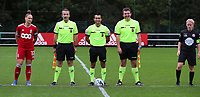 Captain Maud Coutereels (17) of Standard, assistant referee Olivier Jacques, referee Mehdi Sayoud, assistant referee Romain Deltree and captain Jana Simons (8) of Woluwe pictured during a female soccer game between Standard Femina de Liege and White Star Woluwe on the fifth matchday of the 2021 - 2022 season of Belgian Scooore Womens Super League , saturday 2 nd of October 2021  in Angleur , Belgium . PHOTO SPORTPIX   SEVIL OKTEM