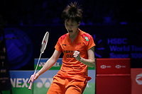 13th March 2020, Arena Birmingham, Birmingham, UK;  Chinas Chen Yufei celebrates winning a point during the womens singles quarterfinal match with Thailands Ratchanok Intanon at the All England Open Badminton Championships in Birmingham