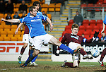 Hearts v St Johnstone...14.02.12.. Scottish Cup 5th Round Replay.Marius Zaliukas scores the winning goal.Picture by Graeme Hart..Copyright Perthshire Picture Agency.Tel: 01738 623350  Mobile: 07990 594431