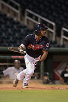 AZL Indians 1 second baseman Richard Palacios (13) starts down the first base line during an Arizona League game against the AZL White Sox at Goodyear Ballpark on June 20, 2018 in Goodyear, Arizona. AZL Indians 1 defeated AZL White Sox 8-7. (Zachary Lucy/Four Seam Images)