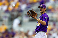 LSU Tigers pitcher Kevin Gausman #12 during the NCAA Super Regional baseball game against Stony Brook on June 9, 2012 at Alex Box Stadium in Baton Rouge, Louisiana. Stony Brook defeated LSU 3-1. (Andrew Woolley/Four Seam Images)