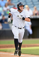 Tampa Yankees first baseman Matt Snyder (55) runs to first during a game against the Dunedin Blue Jays on June 28, 2014 at George M. Steinbrenner Field in Tampa, Florida.  Tampa defeated Dunedin 5-2.  (Mike Janes/Four Seam Images)