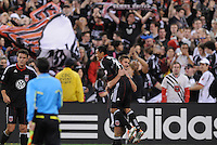 DC United defender Perry Kitchen (23) celebrates with teammate Andy Najar the victory at the end of the game.   DC United defeated The Columbus Crew 3-1  at the home season opener, at RFK Stadium, Saturday March 19, 2011.