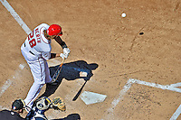 24 September 2012: Washington Nationals outfielder Jayson Werth at bat during a game against the Milwaukee Brewers at Nationals Park in Washington, DC. The Nationals defeated the Brewers 12-2 in the final game of their 4-game series, splitting the series at two. Mandatory Credit: Ed Wolfstein Photo