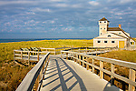 Wooden walkway over dunes to U.S. Life Saving Station, Race Point Beach, Provincetown, MA