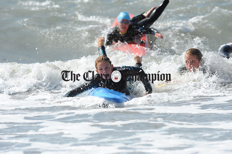 Erica Mc Carthy in action  at the Munster Nipper Surf Lifesaving Championships at White Strand, Miltown Malbay. Photograph by John Kelly.