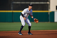 Lakeland Flying Tigers A.J. Simcox (12) during a Florida State League game against the St. Lucie Mets on April 24, 2019 at Publix Field at Joker Marchant Stadium in Lakeland, Florida.  Lakeland defeated St. Lucie 10-4.  (Mike Janes/Four Seam Images)