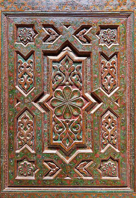 Geometric Berber Arabesque carved wood oor panels from Kasbah Telouet, Atla Mountains Morocco