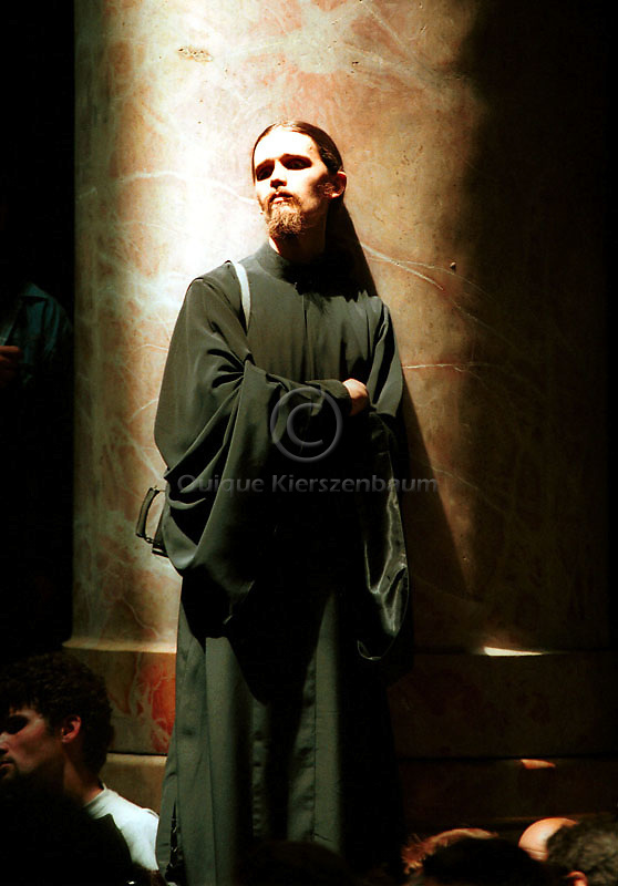 An unidentified priest takes part of the Holy Fire ceremony in the Church of the Holy Sepulcher in Jerusalem, Saturday, April 29, 2000.