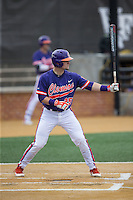 Chris Okey (25) of the Clemson Tigers at bat against the Wake Forest Demon Deacons at David F. Couch Ballpark on March 12, 2016 in Winston-Salem, North Carolina.  The Tigers defeated the Demon Deacons 6-5.  (Brian Westerholt/Four Seam Images)