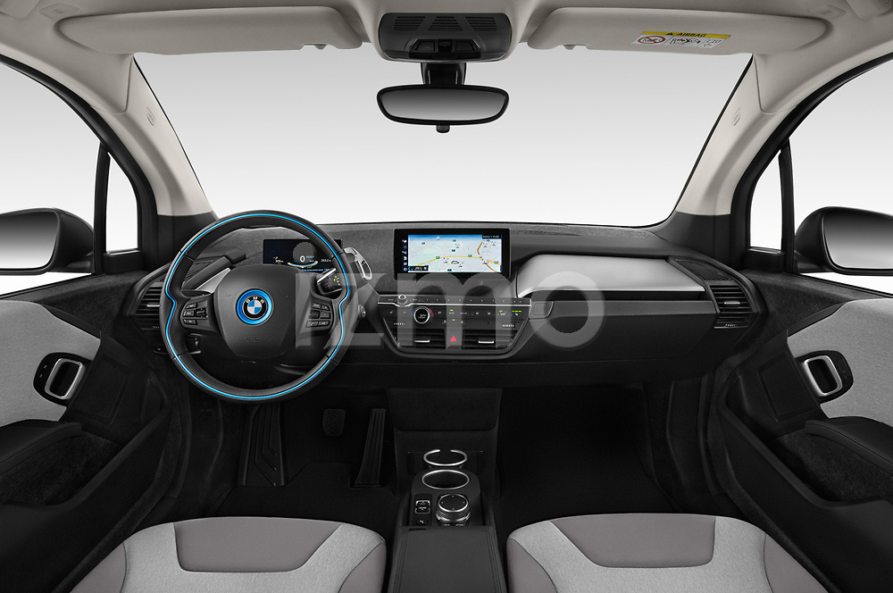 Stock photo of straight dashboard view of a 2018 BMW i3 S 5 Door Hatchback