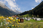Italy, South Tyrol, Valle di Anterselva, campground and Vedrette di Ries mountains