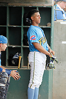 Myrtle Beach Pelicans infielder Aramis Ademan (11) in the dugout during a game against the Potomac Nationals at Ticketreturn.com Field at Pelicans Ballpark on July 1, 2018 in Myrtle Beach, South Carolina. Myrtle Beach defeated Potomac 6-1. (Robert Gurganus/Four Seam Images)