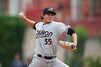 Akron RubberDucks pitcher Eli Morgan (35) during an Eastern League game against the Erie SeaWolves on June 2, 2019 at UPMC Park in Erie, Pennsylvania.  Akron defeated Erie 7-2 in the first game of a doubleheader.  (Mike Janes/Four Seam Images)
