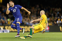 June 7, 2016: AARON MOOY (13) of Australia kicks the ball during an international friendly match between the Australian Socceroos and Greece at Etihad Stadium, Melbourne. Photo Sydney Low