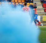 23.12.2018 St Johnstone v Rangers: Alfredo Morelos celebrates his winning goal next to a blue smokebomb