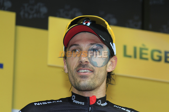 Fabian Cancellara (SUI) Radioshack-Nissan takes the win by 7 seconds at the end of the Prologue of the 99th edition of the Tour de France 2012, a 6.4km individual time trial starting in Parc d'Avroy, Liege, Belgium. 30th June 2012.<br /> (Photo by Eoin Clarke/NEWSFILE)