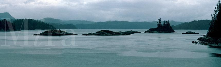 Rainy panorama of winter home of  Kwakwaka'waku people