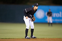 Kannapolis Intimidators shortstop Grant Massey (28) on defense against the Lakewood BlueClaws at Kannapolis Intimidators Stadium on April 6, 2017 in Kannapolis, North Carolina.  The BlueClaws defeated the Intimidators 7-5.  (Brian Westerholt/Four Seam Images)