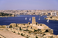 Sliema and Sliema Creek, Malta.  View from Saint Elmo Fort, Valletta.  Manoel Island on Left.