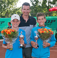 August 9, 2014, Netherlands, Rotterdam, TV Victoria, Tennis, National Junior Championships, NJK,  Prize giving, Richard Krajicek with Thijmen Loof (R) and Frank Jonker, runners up boys  doubles 12 years<br /> Photo: Tennisimages/Henk Koster