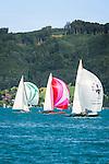 Austria, Upper Austria, Salzkammergut: wonderful sailing ground on lake Attersee | Oesterreich, Oberoesterreich, Salzkammergut: Segelrevier auf dem Attersee