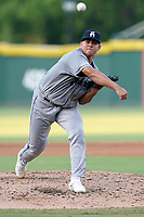 Starting pitcher Diosmerky Tavarez (38) of the Asheville Tourists in a game against the Greenville Drive on Sunday, September 5, 2021, at Fluor Field at the West End in Greenville, South Carolina. (Tom Priddy/Four Seam Images)