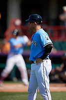 Erie SeaWolves coach Mike Rabelo (58) during an Eastern League game against the Akron RubberDucks on June 2, 2019 at UPMC Park in Erie, Pennsylvania.  Erie defeated Akron 8-5 in eleven innings in the second game of a doubleheader.  (Mike Janes/Four Seam Images)