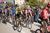 Maglia Rosa / overall leader Primoz Roglic (SVK/Jumbo-Visma) rolls over the finish line (next to runner-up Simon Yates) with the visible scars of an early stage crash. These didn't really affect his racing tactics and his team let the breakaway of the day go (and take the overall lead position)<br />  to be able to get some rest from the resposibilities that come with the Pink Jersey. <br /> <br /> Stage 6: Cassino to San Giovanni Rotondo (233km)<br /> 102nd Giro d'Italia 2019<br /> <br /> ©kramon