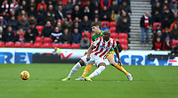 Stoke City's Benik Afobe shields the ball from Preston North End's Jordan Storey<br /> <br /> Photographer Stephen White/CameraSport<br /> <br /> The EFL Sky Bet Championship - Stoke City v Preston North End - Saturday 26th January 2019 - bet365 Stadium - Stoke-on-Trent<br /> <br /> World Copyright © 2019 CameraSport. All rights reserved. 43 Linden Ave. Countesthorpe. Leicester. England. LE8 5PG - Tel: +44 (0) 116 277 4147 - admin@camerasport.com - www.camerasport.com