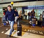 Pedro Caixinha at Glasgow Airport this morning with Fabio Cardoso and Dalcio Gomes