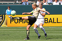 Leslie Osborne #10 of FC Gold Pride attempts to control a loose ball against the Los Angeles Sol during their match at Home Depot Center on April 19, 2009 in Carson, California.