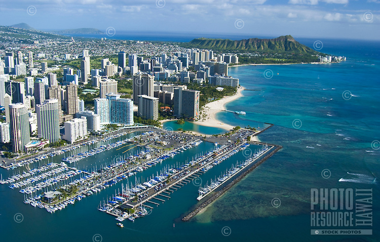 Aerial view of the Ala Wai Boat Harbor with Diamond Head in the background