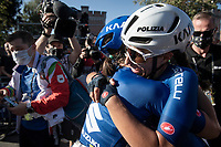 Elisa Balsamo (ITA/Valcar-Travel and Service) hugging her teammate and letting her emotions flow as she can't believe she just became World Champion<br /> <br /> Women Elite - Road Race (WC)<br /> from Antwerp to Leuven (158km)<br /> <br /> UCI Road World Championships - Flanders Belgium 2021<br /> <br /> ©kramon