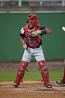Salem Red Sox catcher Jhon Nunez (2) during the second game of a doubleheader against the Potomac Nationals on May 13, 2017 at G. Richard Pfitzner Stadium in Woodbridge, Virginia.  Potomac defeated Salem 3-2.  (Mike Janes/Four Seam Images)