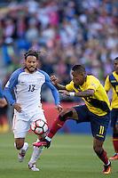 Action photo during the match United States vs Ecuador at CenturyLink Field Stadium Copa America Centenario 2016. ---Foto  de accion durante el partido Estados Unidos En el Estadio CenturyLink Field. Partido Correspondiante a los Cuartos de Final de la Copa America Centenario USA 2016, en la foto: (i)-(d) Jermaine Jones, Michael Arroyo<br /> --- - 16/06/2016/MEXSPORT/Omar Martinez.
