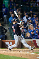 Cleveland Indians Mike Napoli (26) bats in the eighth inning during Game 4 of the Major League Baseball World Series against the Chicago Cubs on October 29, 2016 at Wrigley Field in Chicago, Illinois.  (Mike Janes/Four Seam Images)