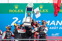 #7 Toyota Gazoo Racing Toyota GR010 - Hybrid Hypercar, Mike Conway, Kamui Kobayashi, Jose Maria Lopez, 24 Hours of Le Mans , Podium, Circuit des 24 Heures, Le Mans, Pays da Loire, France