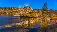 Fine Art Lake Scenic of the colourful fall season overlooking Skaha Lake in BC,  Canada.