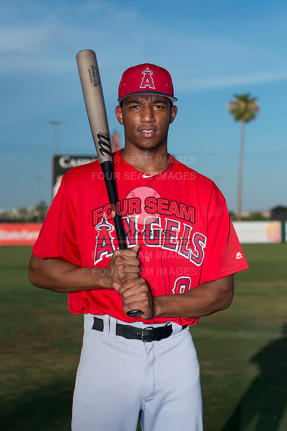 AZL Angels outfielder William Rivera (9) poses for a photo before an Arizona League game against the AZL Padres 2 at Tempe Diablo Stadium on July 18, 2018 in Tempe, Arizona. The AZL Padres 2 defeated the AZL Angels 8-1. (Zachary Lucy/Four Seam Images)