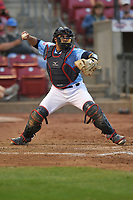 Cedar Rapids Kernels catcher David Banuelos (9) throws to second base against the South Bend Cubs at Veterans Memorial Stadium on May 1, 2018 in Cedar Rapids, Iowa.  (Dennis Hubbard/Four Seam Images)