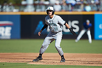 Scott McKeon (10) of the Coastal Carolina Chanticleers takes his lead off of first base against the Duke Blue Devils at Segra Stadium on November 2, 2019 in Fayetteville, North Carolina. (Brian Westerholt/Four Seam Images)