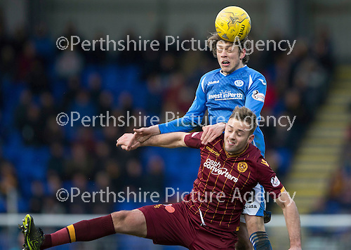 St Johnstone v Motherwell…20.02.16   SPFL   McDiarmid Park, Perth<br />Murray Davidson gets above Louis Laing<br />Picture by Graeme Hart.<br />Copyright Perthshire Picture Agency<br />Tel: 01738 623350  Mobile: 07990 594431